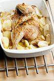 chicken baked with onion and potatoes