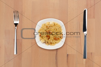 Rice with cheese and cashew