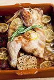 chicken baked on lemons