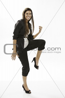 Cute Teenage Girl Excited on White