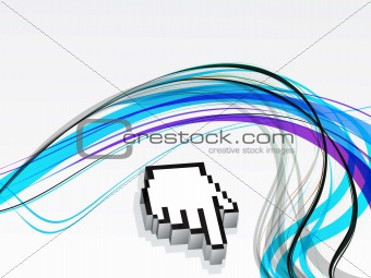 abstract colorful wave with cursor