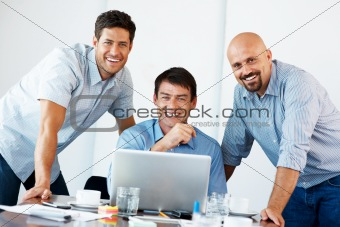 Successful business people working together