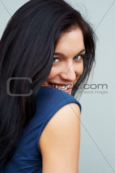 Closeup of a cute young woman smiling