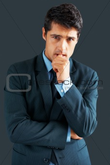 Businessman looking troubled