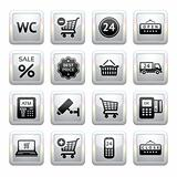 Set pictograms supermarket services, Shopping Icons. Gray. Web 2.0 icons