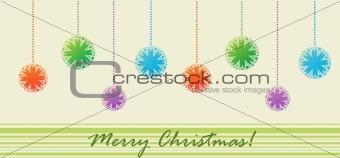 Postcard with Christmas balls (Merry Cristmas)