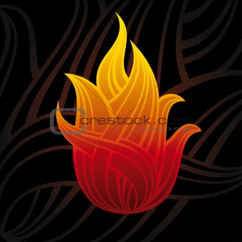 abstract vector symbol of fire