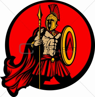 Greek Spartan Trojan Vector Mascot with Spear and Shield