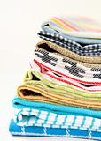 Pile of linen kitchen towels