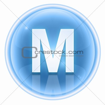 Ice font icon. Letter M, isolated on white background