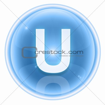 Ice font icon. Letter U, isolated on white background