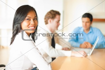Asian Business Woman Over Shoulder
