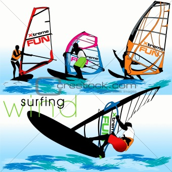 Windsurfers Silhouettes Set