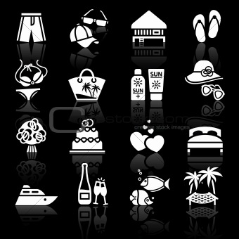 Vacation, Travel & Recreation. icons set