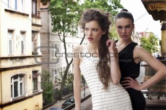 beauty ladys elegant dressed outside