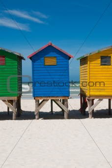 Multi colored beach huts