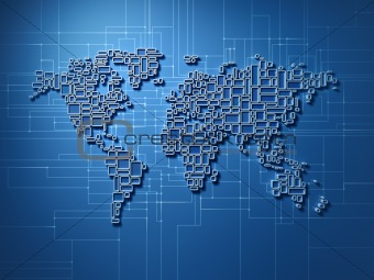 Small square world map with global network