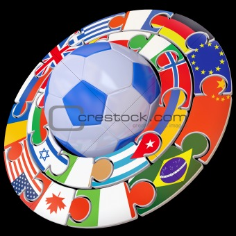 Football and set of flags