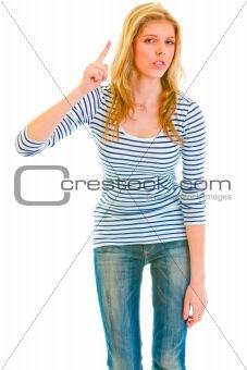 Modern teen girl shaking finger