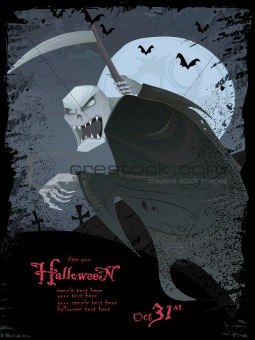 Vector Halloween template with Grim reaper