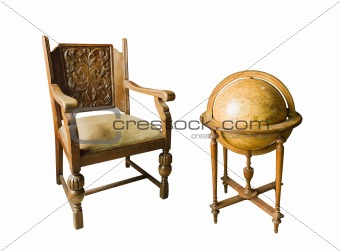 Old wooden chair and Old wooden globe