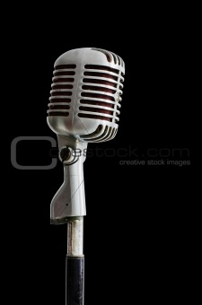 Old Chrome microphone on Black