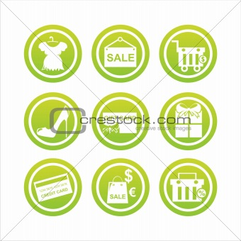 green shopping signs