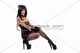 Gothic woman in sexy outfit