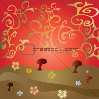 Background with glade, flowers and mushrooms