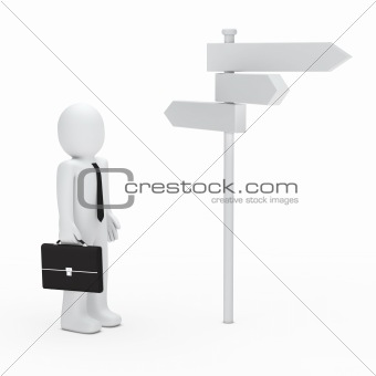 3d business man way sign
