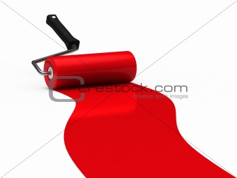 3d paint roller red