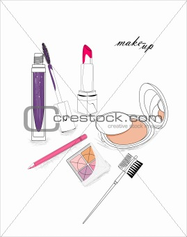 artistic background with lipstick, mascara, eye-shadows, pencil, powder and cosmetic brushes