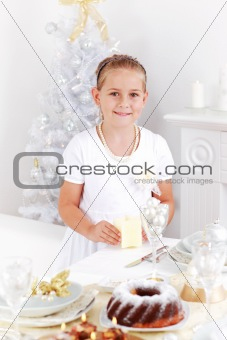 Girl setting table