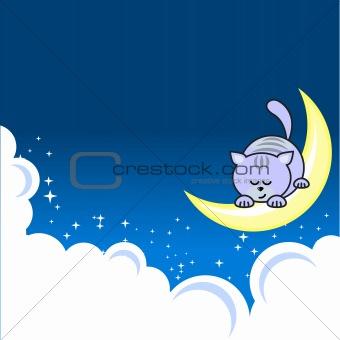 Small  cat sleeping  on crescent