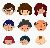 cartoon family face icons