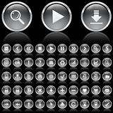 Black and white glossy icons