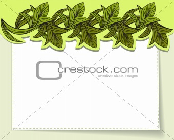 postcard with green leaves