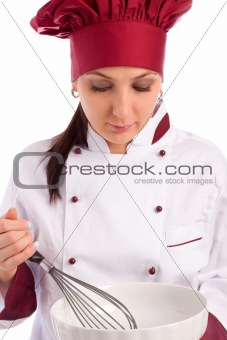 Chef with bowl and whip