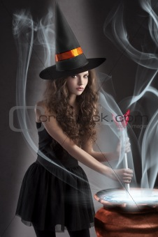 beautiful long haired girl dressed like a halloween