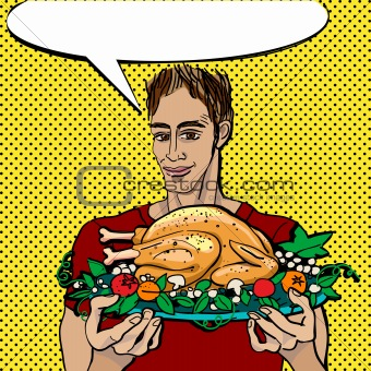 man with a baked turkey