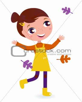 Cute running Child with Autumn Leaves isolated on white