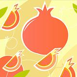 Pomegranate - wild retro stylized texture - orange