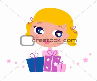 Little cute Girl with Christmas Gifts isolated on white