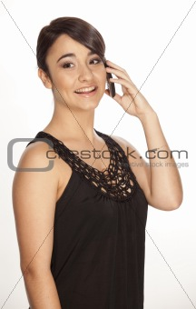 Young brunette speaking on phone
