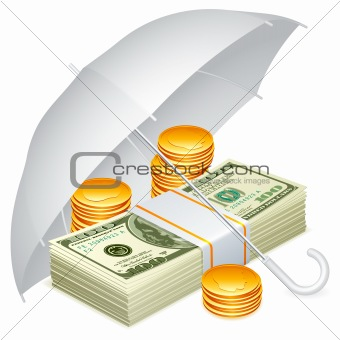 Umbrella and money.