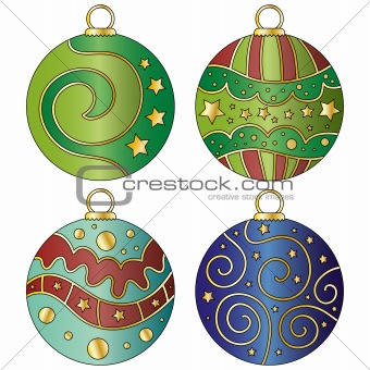 Christmas bauble collection with curls and stars