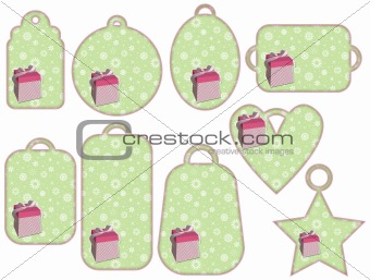 green tag collection with pink gifts