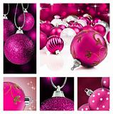 Collage of pink  christmas decorations on different backgrounds