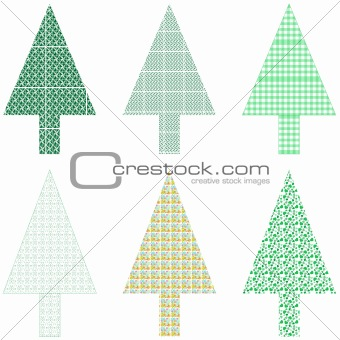 Abstract green christmas tree greeting card blank xmas vector
