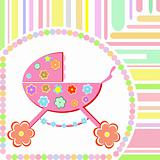 vector Baby girl arrival announcement greeting card